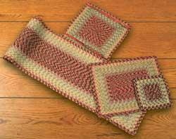 Burgundy, Black, and Sage Cotton Braid Tablerunner - 36 inch (Rectangle)