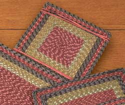 Burgundy, Olive, and Charcoal Cotton Tweed Chair Pad (Square)