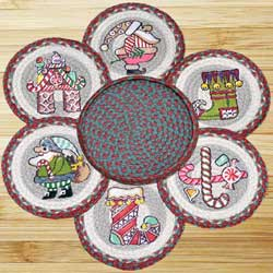 Candy Cane Santa Braided Trivet Set