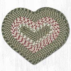 Green and Burgundy Cotton Braid Placemat - Heart