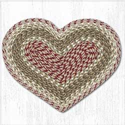 Olive, Burgundy, and Gray Cotton Braid Placemat - Heart