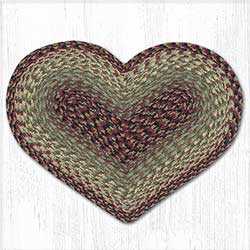 Burgundy, Black, and Sage Cotton Braid Placemat - Heart