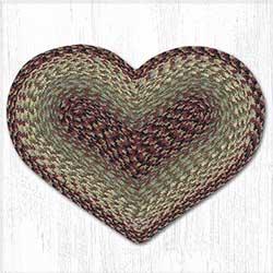 Burgundy, Black, and Sage Cotton Braid Placemat - Heart