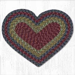 Burgundy, Olive, and Charcoal Cotton Braid Placemat - Heart