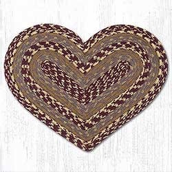 Burgundy, Gray, and Mustard Cotton Braid Placemat - Heart