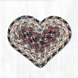Burgundy, Gray, and Creme Cotton Braid Trivet - Heart