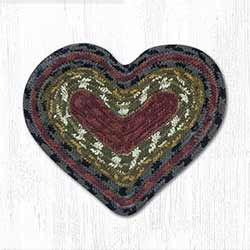 Burgundy, Olive, and Charcoal Cotton Braid Trivet - Heart