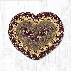 Burgundy, Gray, and Mustard Cotton Braid Trivet - Heart