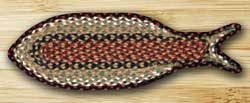 Burgundy and Mustard Fish Shaped Braided Rug