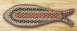 Olive, Burgundy, and Gray Fish Shaped Braided Rug