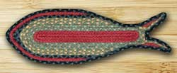 Burgundy, Olive, and Charcoal Fish Shaped Braided Rug
