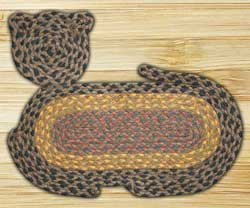 Brown, Black, and Charcoal Cat Shaped Rug