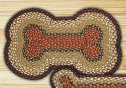 Burgundy and Mustard Braided Dog Bone Rug - Large