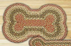Olive, Burgundy, and Gray Braided Dog Bone Rug - Large