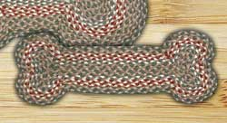 Green and Burgundy Braided Dog Bone Rug - Small