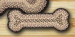 Chocolate and Natural Braided Dog Bone Rug - Small
