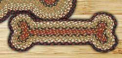 Burgundy and Mustard Braided Dog Bone Rug - Small