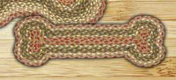 Olive, Burgundy, and Gray Braided Dog Bone Rug - Small