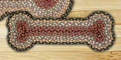 Burgundy, Gray, and Creme Braided Dog Bone Rug - Small