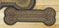 Brown, Black, and Charcoal Braided Dog Bone Rug - Small