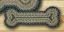 Black, Mustard, and Creme Braided Dog Bone Rug - Small