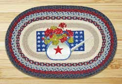 Summer Celebration Oval Patch Braided Rug