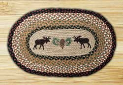 Moose and Pinecone Oval Patch Braided Rug