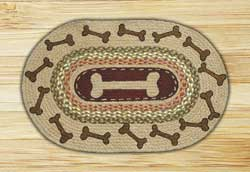 Dog Bones Oval Patch Braided Rug
