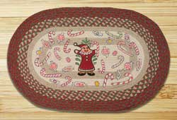 Gingerbread Santa Oval Patch Braided Rug