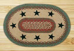 Green Stars Oval Patch Braided Rug