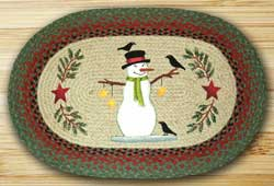 Snowman with Crow Oval Patch Braided Rug