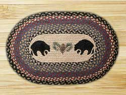 Black Bears Oval Patch Braided Rug