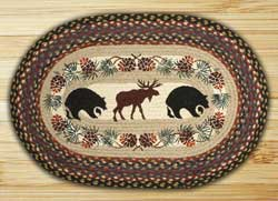 Bear and Moose Oval Patch Braided Rug