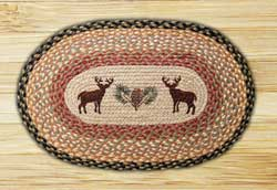 Deer and Pinecone Oval Patch Braided Rug