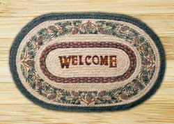 Pinecone Welcome Oval Patch Braided Rug