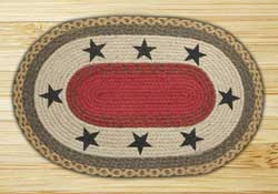 Black Stars Oval Patch Braided Rug