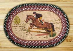 English Rider Oval Patch Braided Rug