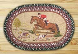Hunt Scene Oval Patch Braided Rug