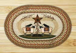 Sheep & Barn Star Oval Patch Braided Rug