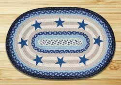 Blue Stars Oval Patch Braided Rug