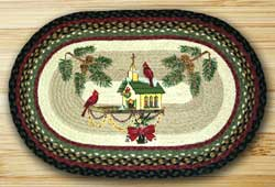 Christmas Birdhouse Oval Patch Braided Rug