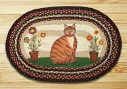 Folk Art Cat Oval Patch Braided Rug