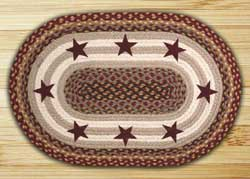 Burgundy Stars Oval Patch Braided Rug