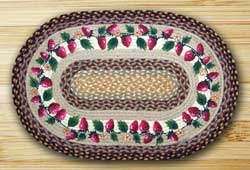 Strawberries Oval Patch Braided Rug