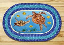Sea Turtle Oval Patch Braided Rug
