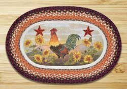 Morning Rooster Oval Patch Braided Rug