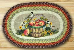 Apple Chickadee Oval Patch Braided Rug