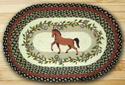 Horse Oak Leaf Oval Patch Braided Rug