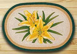 Yellow Lilies Oval Patch Rug