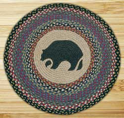 Black Bear Round Braided Rug